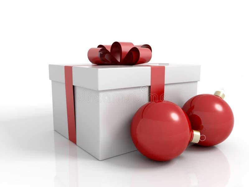 Gift box with christmas balls and a ribbon stock illustration