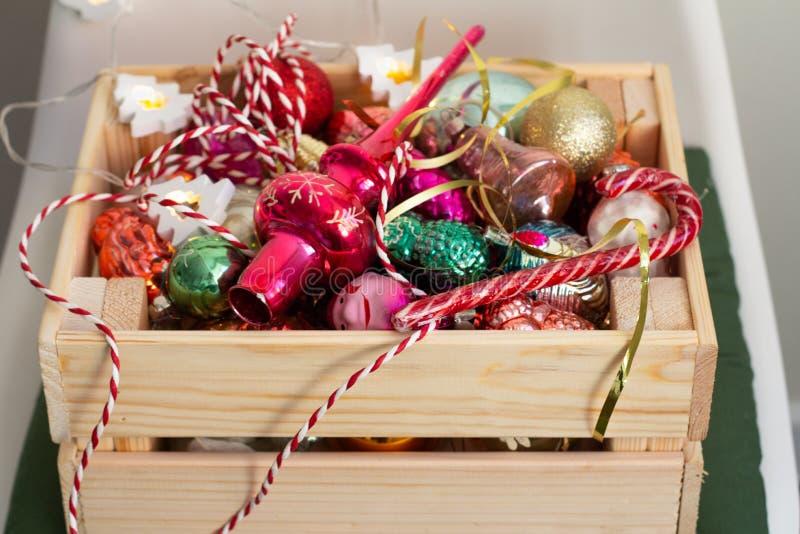 gift box with christmas balls stock image