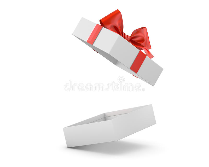 Gift. Box for Christmas, New Year's Day ,Open red  box white background 3d rendering stock illustration