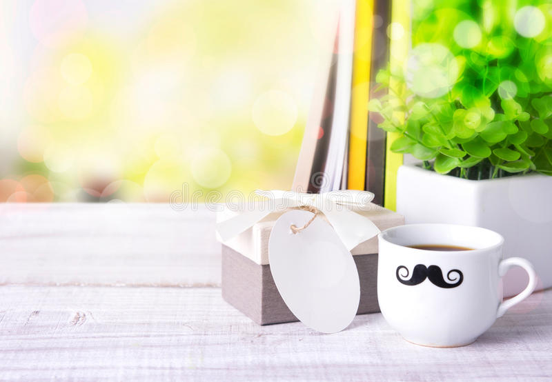 Gift box coffee message space background. royalty free stock photo