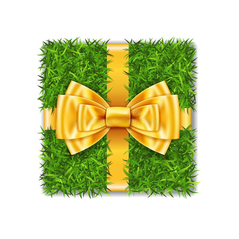 Gift box 3D. Green grass box top view, gold ribbon bow isolated white background. Nature friendly design. Eco packaging. Concept recycle. Organic lawn meadow royalty free illustration