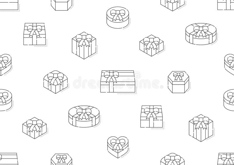 Gift box 3d isometric with shadow icon seamless pattern outline stroke set dash line design illustration. Isolated on white background, vector eps 10 royalty free illustration