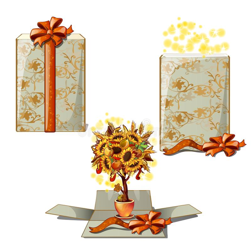 Gift box with a decorative tree. A gift for thanksgiving day isolated on white background. Vector cartoon close-up. Illustration vector illustration