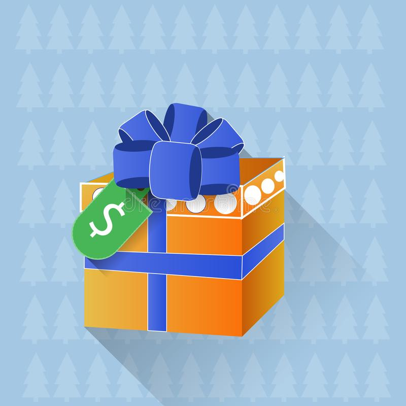 Gift Box With Dollar Tag Sale Or Discount On Presents Winter Holiday Shopping Concept. Gift Box With Dollar Tag Sale Or Discount On Presents Holiday Shopping stock illustration