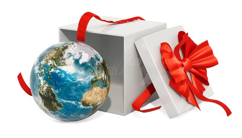 Gift box with Earth Globe, 3D rendering royalty free illustration