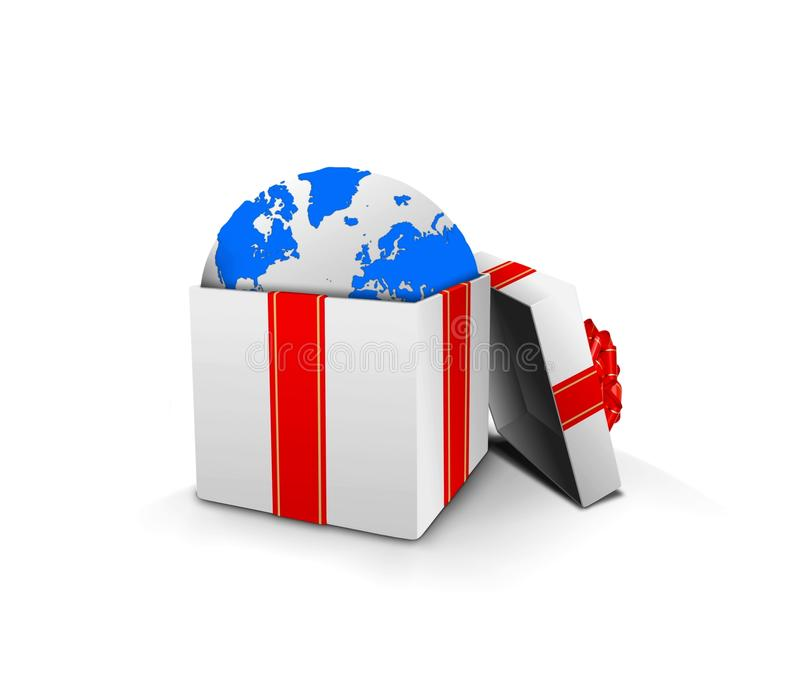 Gift box with earth globe inside vector illustration