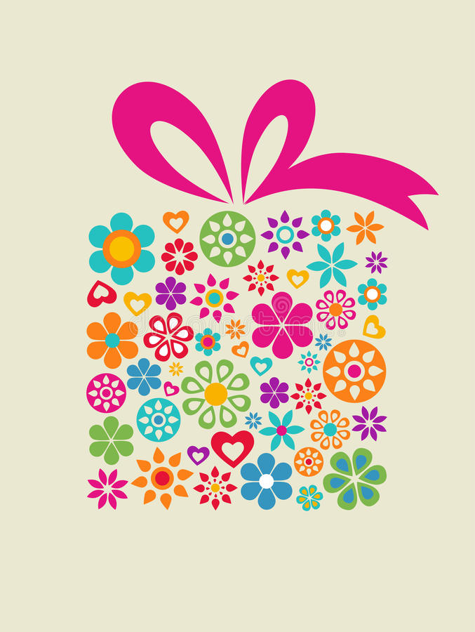 Gift box with floral elements vector illustration