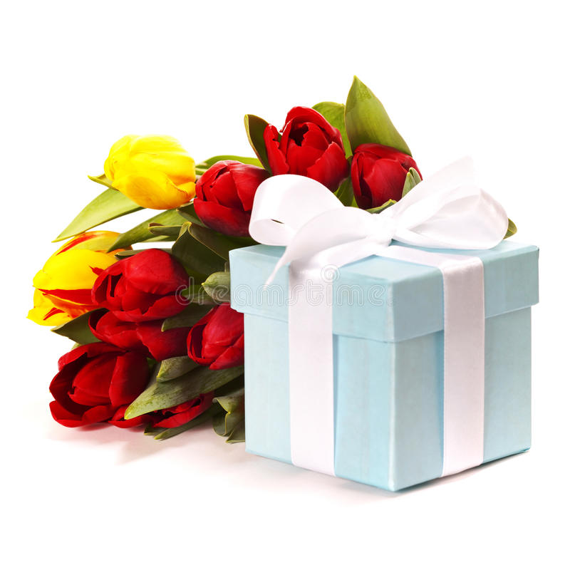 Gift box with flowers royalty free stock photo