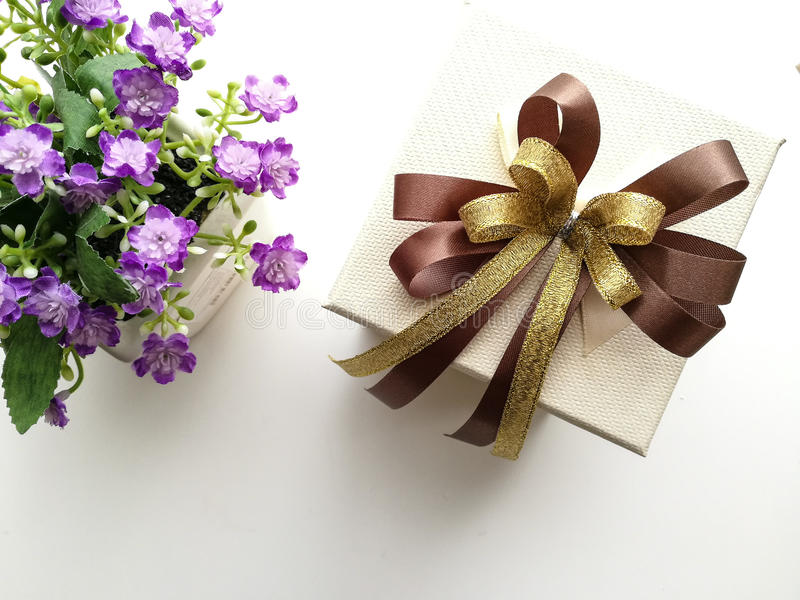 Gift box and flowers royalty free stock image