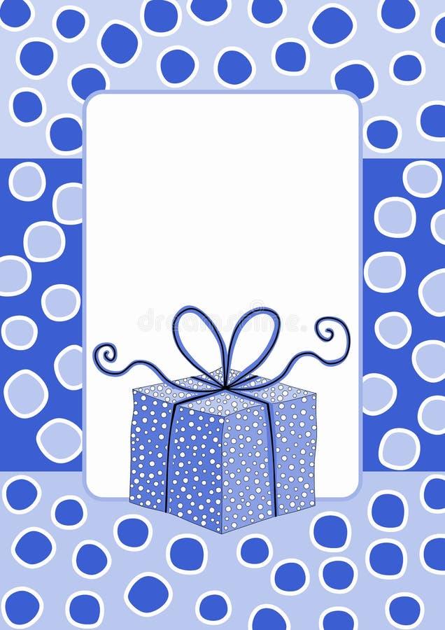 Gift box frame snowing invitation card royalty free stock photos