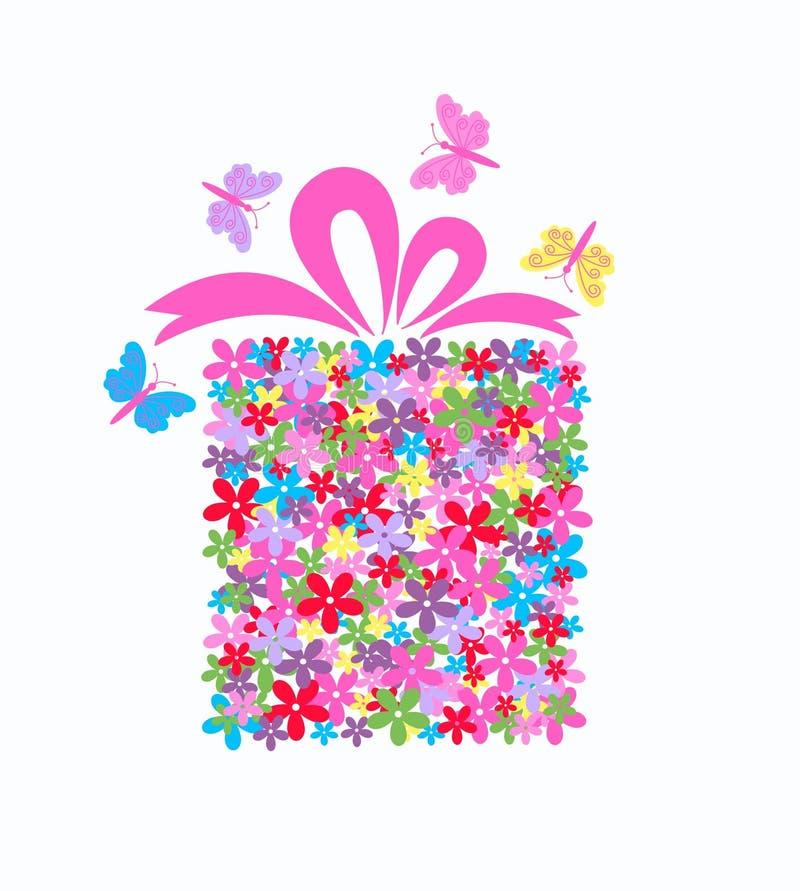 gift box full of flowers vector illustration