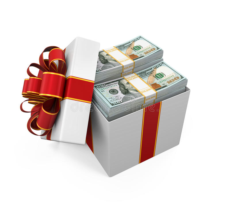 Free Gift Box Full Of Money Stock Photos - 60583263