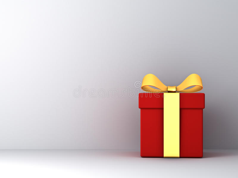 Gift box with gold ribbon bow and empty white wall background abstract. 3D rendering stock illustration