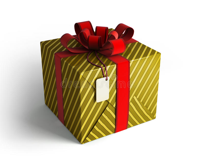 Gift Box In Gold Wrapping Royalty Free Stock Images