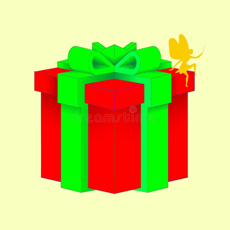 Gift box with a green bowknot with wrapped paper red color isolated on a white background. Vector cartoon close-up illustration. Gift box with a green bowknot stock illustration