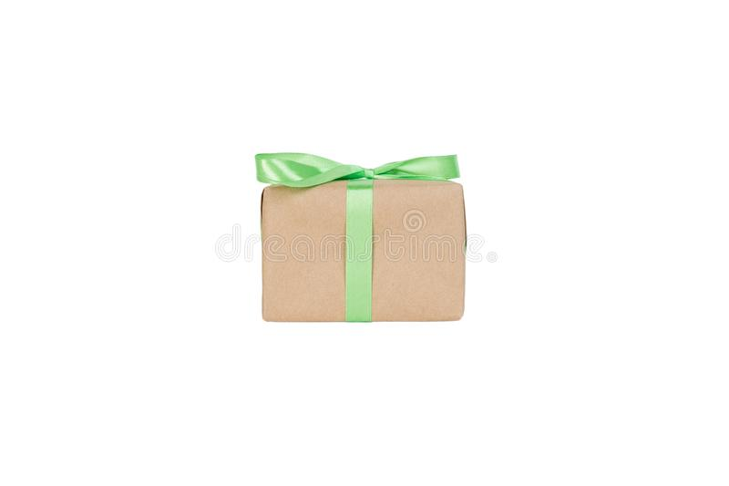 Gift box with green ribbon isolated on white background. holiday concept you you design. front view royalty free stock photo
