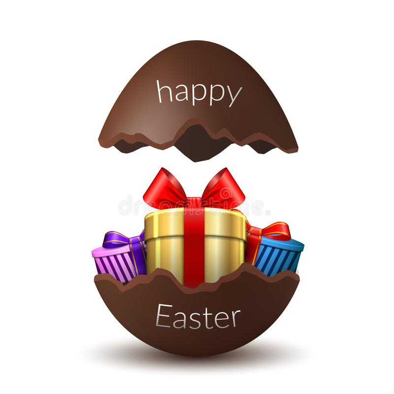 Gift box Happy Easter egg surprise. Broken chocolate Easter 3D egg, isolated white background. Decoration template card. Holiday celebration. Realistic gold royalty free illustration