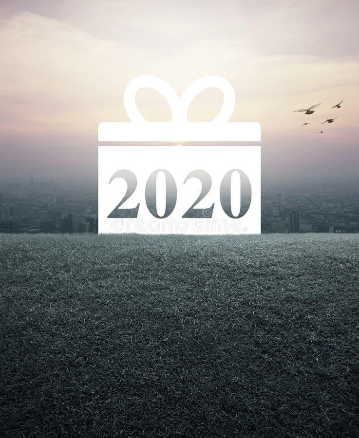 Gift box happy new year 2020 flat icon stock photography