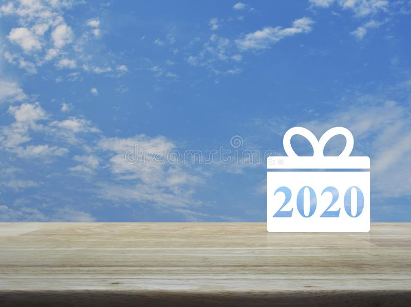 Gift box happy new year 2020 flat icon stock images