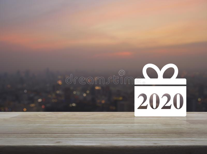 Gift box happy new year 2020 flat icon stock image