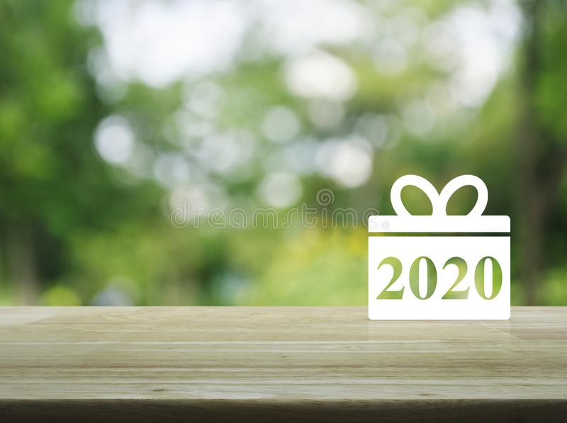 Gift box happy new year 2020 flat icon royalty free stock photography