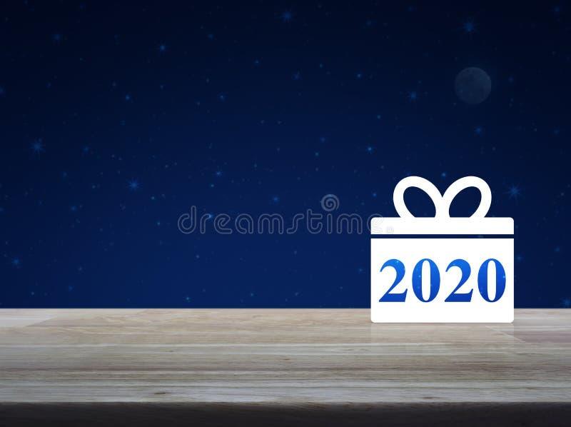 Gift box happy new year 2020 flat icon royalty free stock image