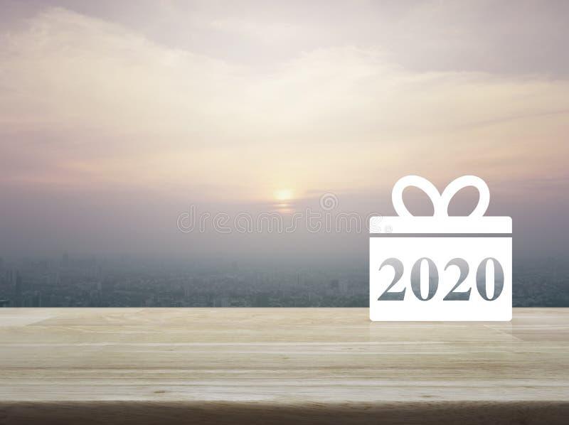 Gift box happy new year 2020 flat icon stock photos
