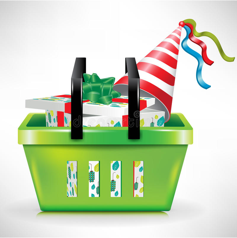 Gift box and hat in shopping basket stock illustration