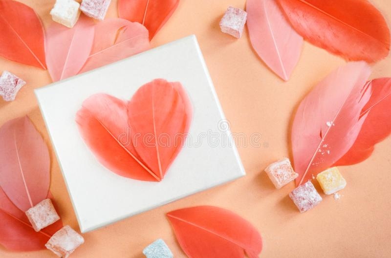 Gift box with bright feather hearts stock photography