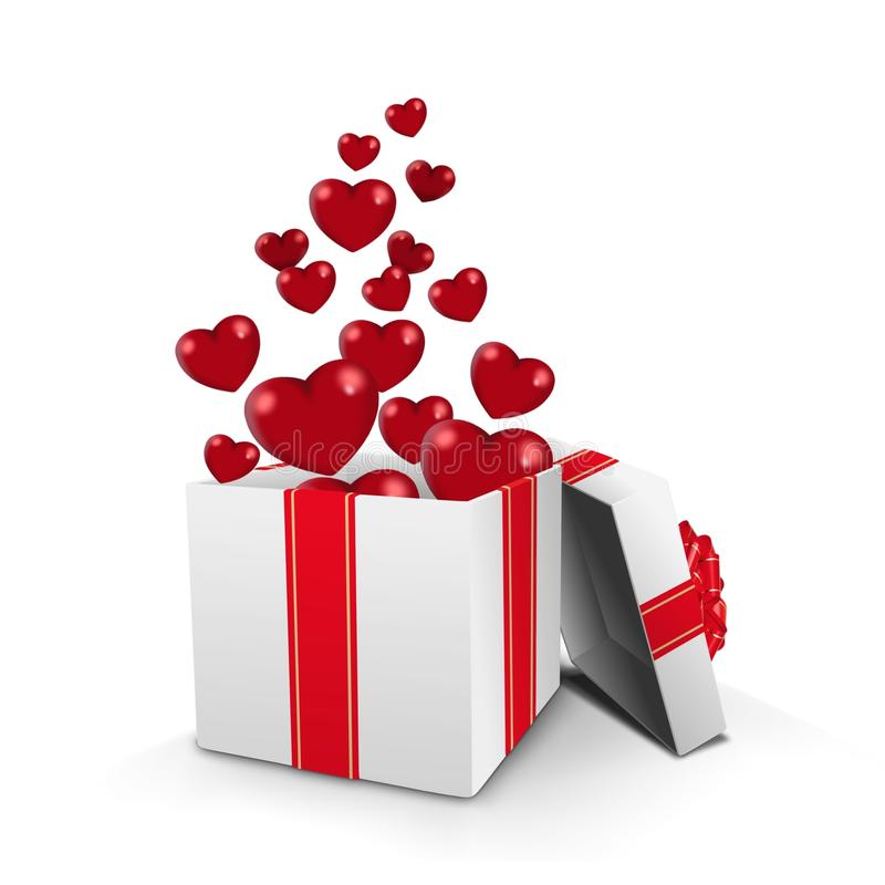Download Gift box with hearts stock illustration. Image of present - 29215482