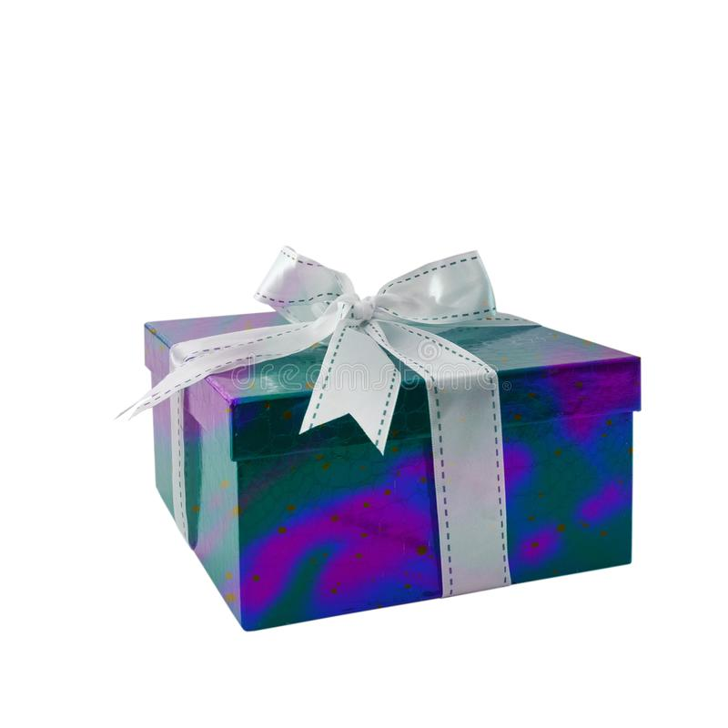 Gift box holography violet, blue, green color with white bow / ribbon isolated on white background stock photo