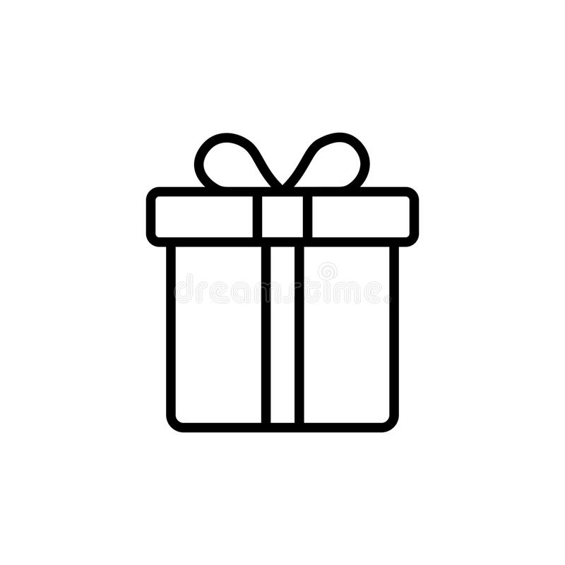 Gift box icon vector design. Gift box icon isolated on white background. Vector design royalty free illustration