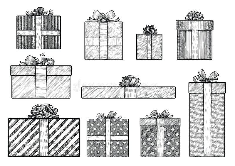 Gift box illustration, drawing, engraving, ink, line art, vector royalty free illustration
