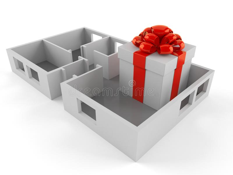 Gift box inside house plan stock illustration