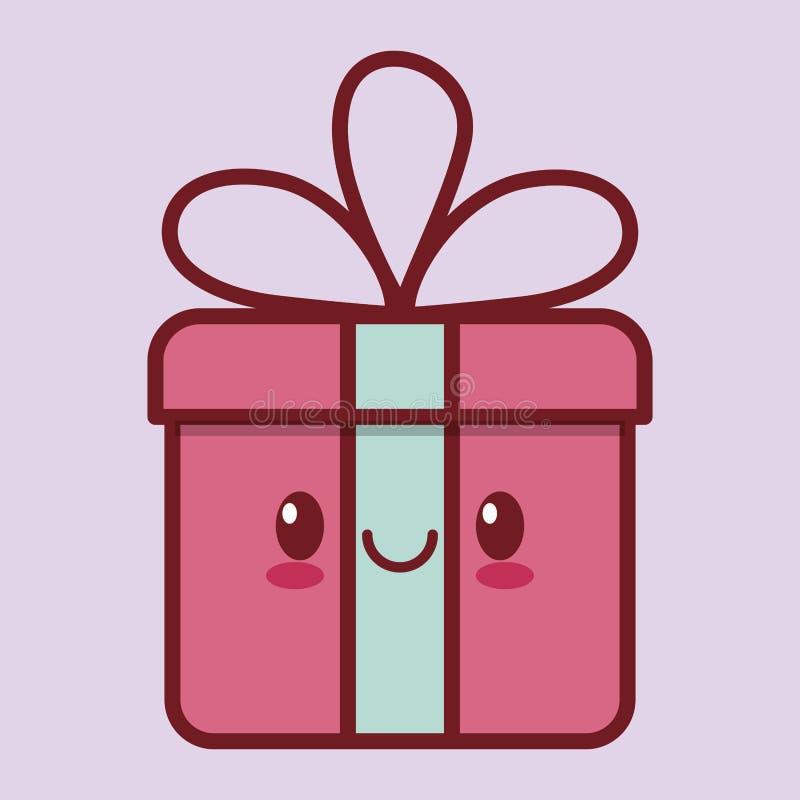 Gift box kawaii icon image. Illustration design royalty free illustration