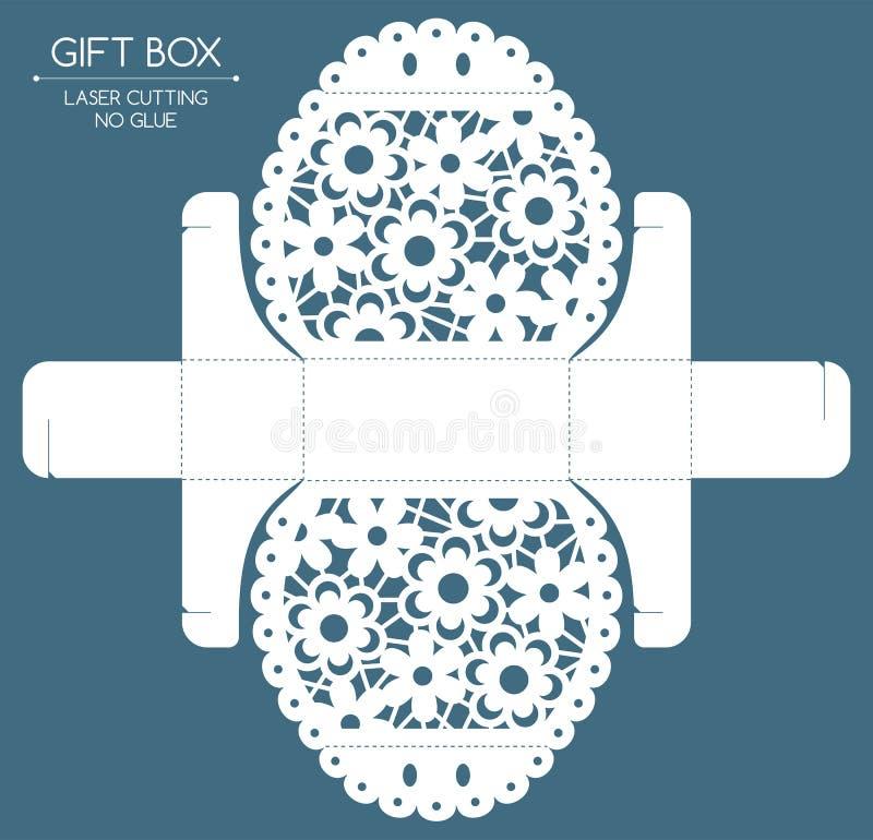 Gift box laser cut stock illustration