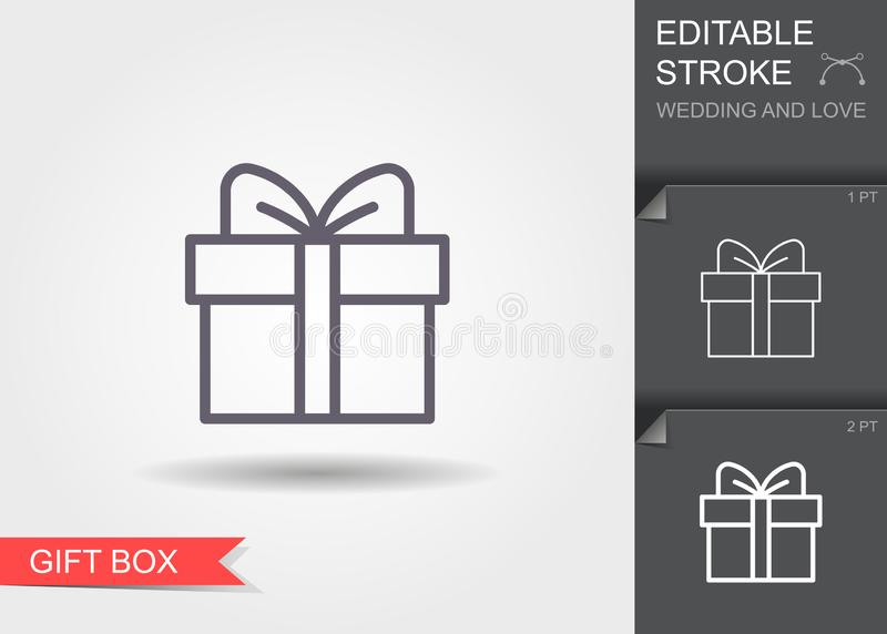 Gift box. Line icon with shadow and editable stroke royalty free illustration