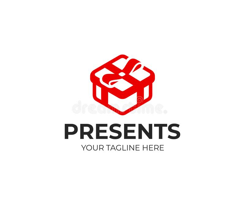 Gift box logo template. Red present box with bow vector design vector illustration