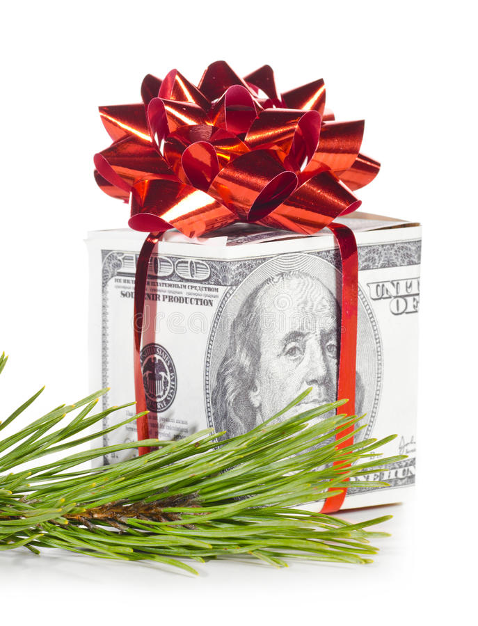 Download Gift box made of dollars stock image. Image of cash, copy - 22456639