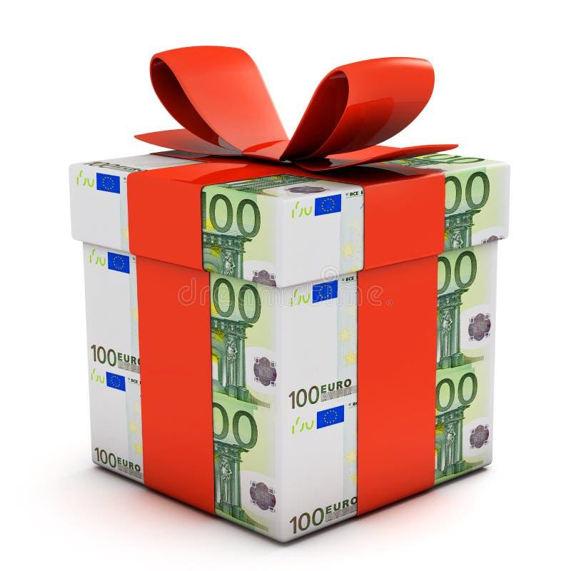 Gift box made of euro banknotes vector illustration