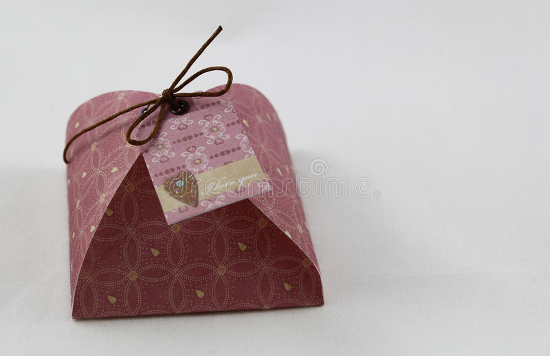 Gift box, made of paper. Handmade gift box, in paper stock images