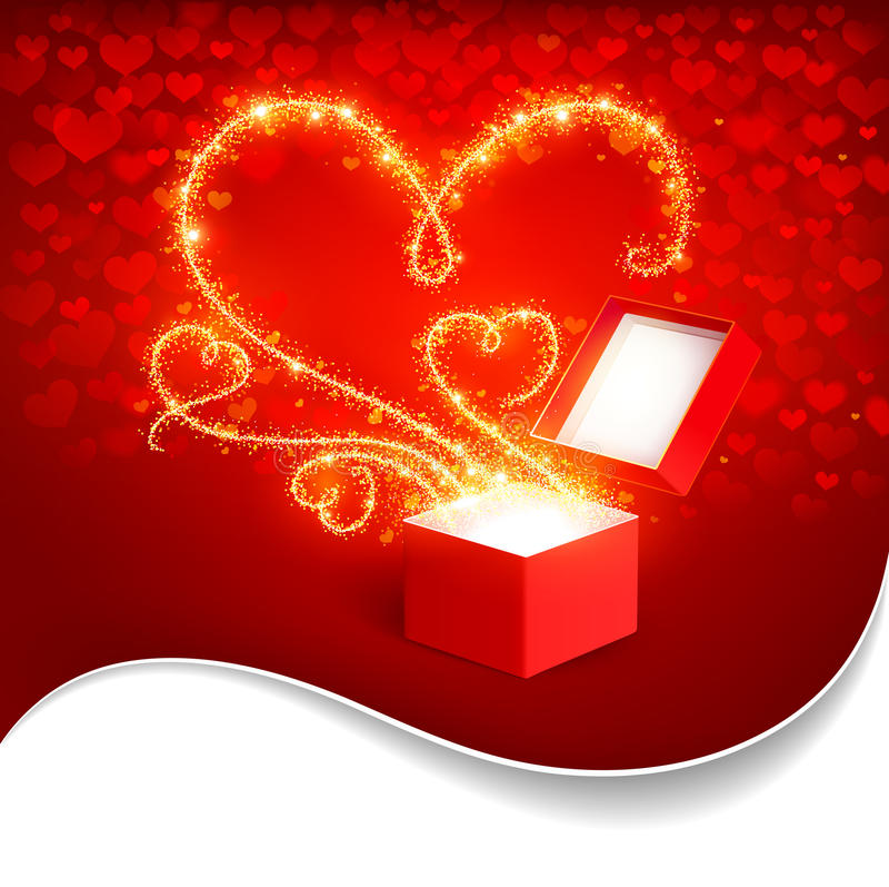 Gift box with magic hearts royalty free stock image
