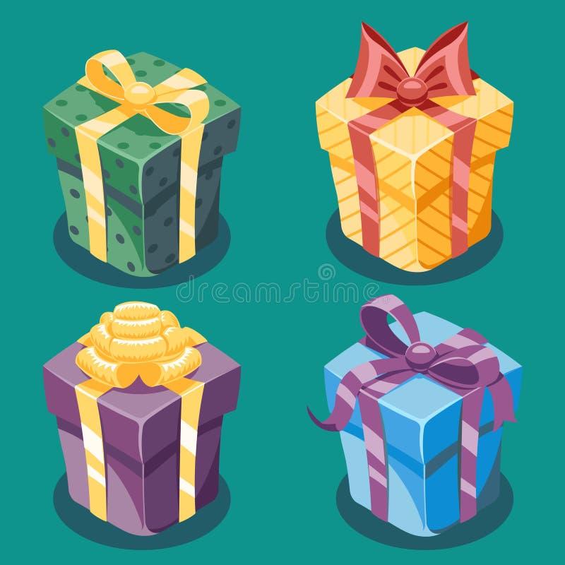 Gift Box New Year Cartoon Flat Design Icon Set Template Vector Illustration royalty free illustration