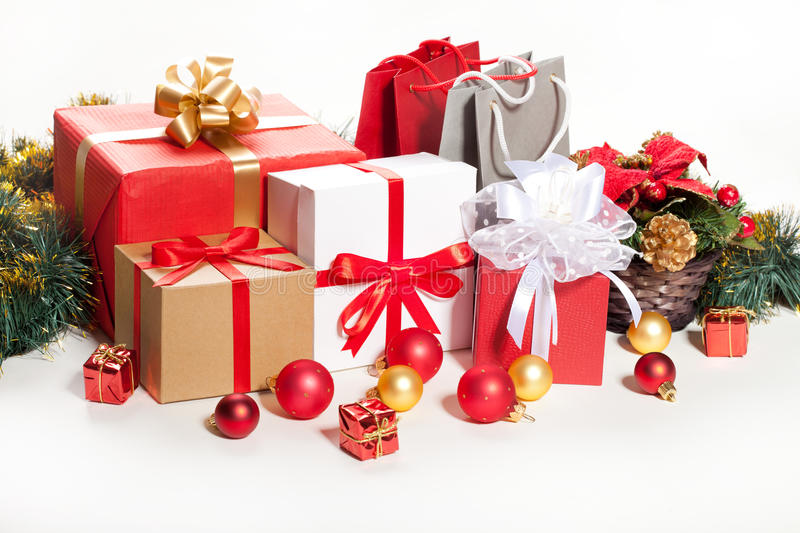 Gift box over white background. Christmas gifts on a white background stock photography