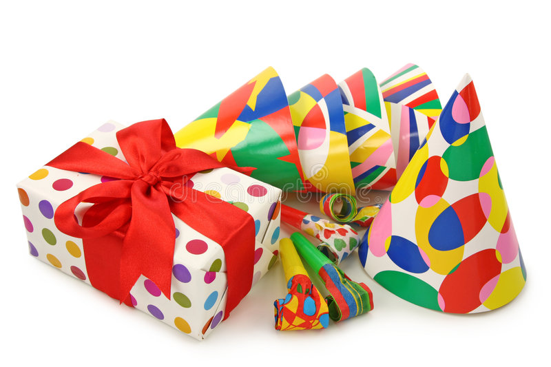Gift box and party hats stock image