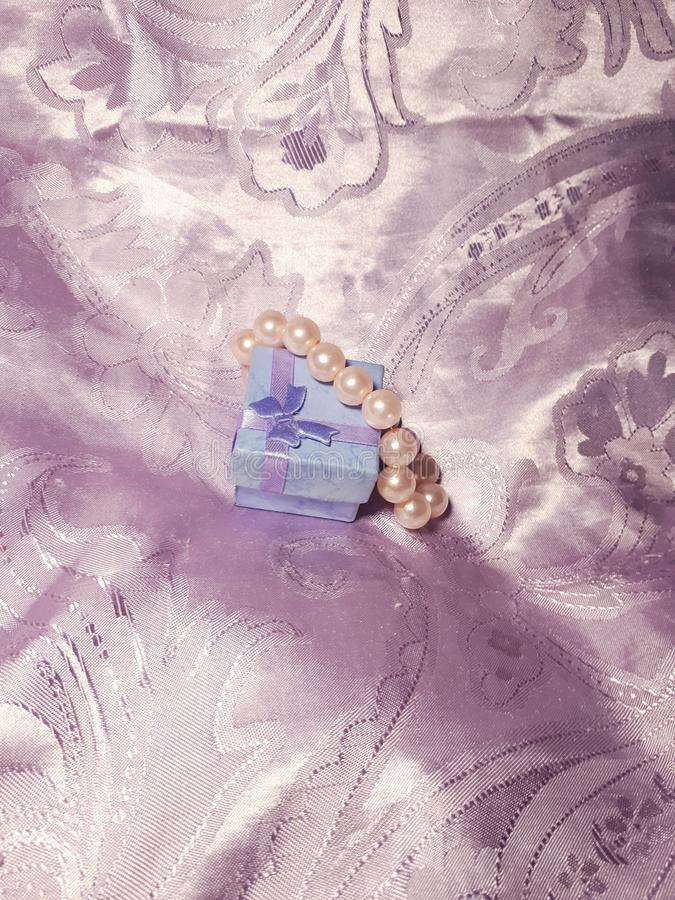 Gift box with pearls. stock photography
