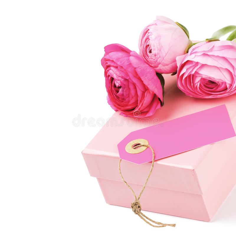 Gift Box With Pink Peonies Royalty Free Stock Images