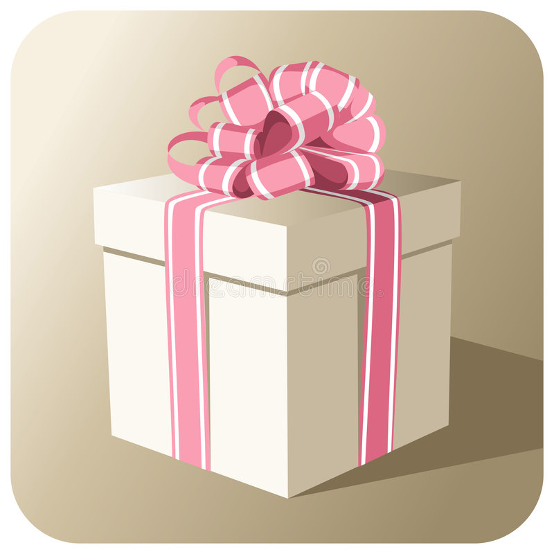 Gift box with a pink ribbon stock photo