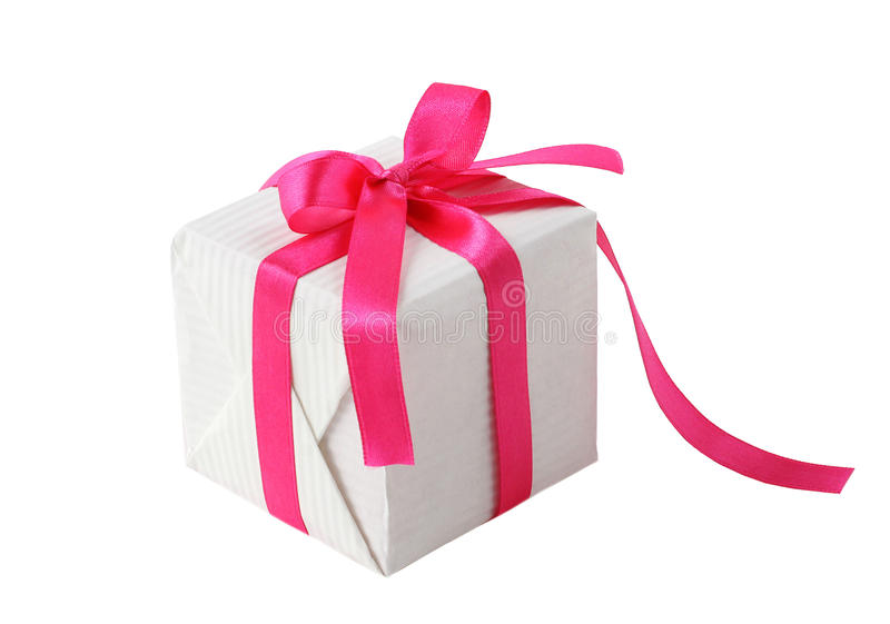 Gift box with pink ribbon bow. Gift box with pink ribbon isolated stock photos