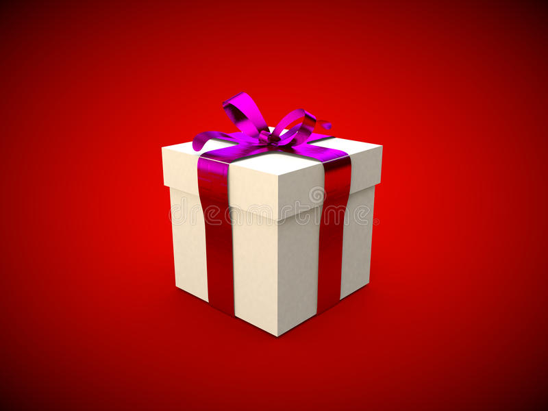Gift box with piunk ribbon bow 3d illustration rendering. Present royalty free illustration